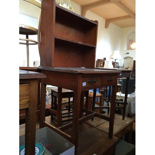 203 - Pitch pine small desk with shelf back....