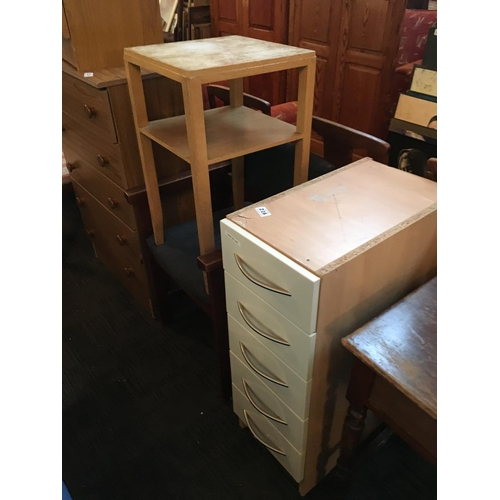 216 - Neat table, chair and set of drawers....