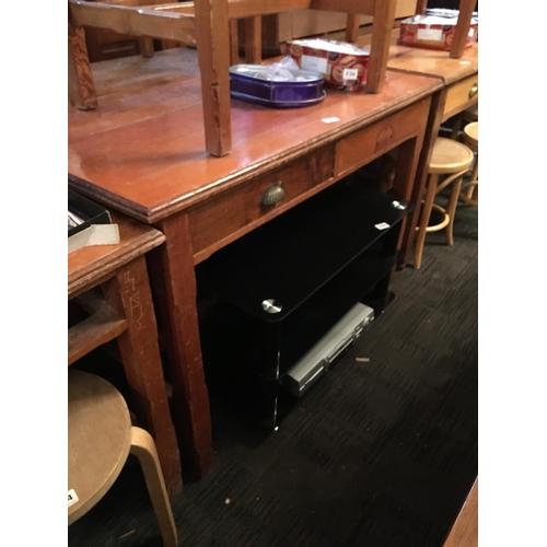 237 - Pitch pine two drawer desk....