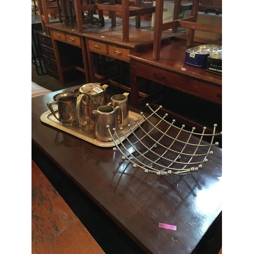 252 - Lot of silver plated ware on tray and fruit basket....