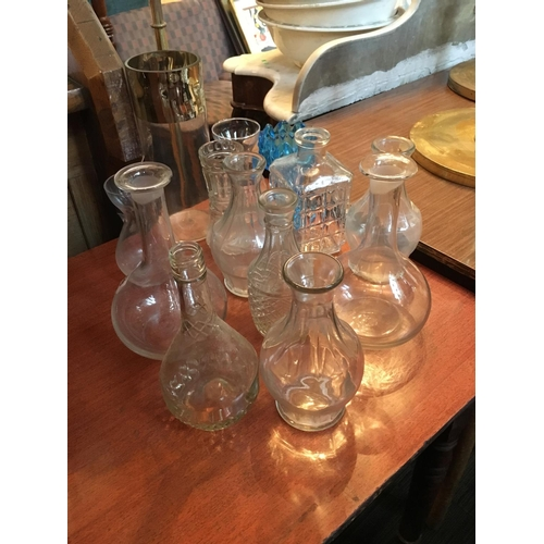 258 - Selection glass decanters and vase....