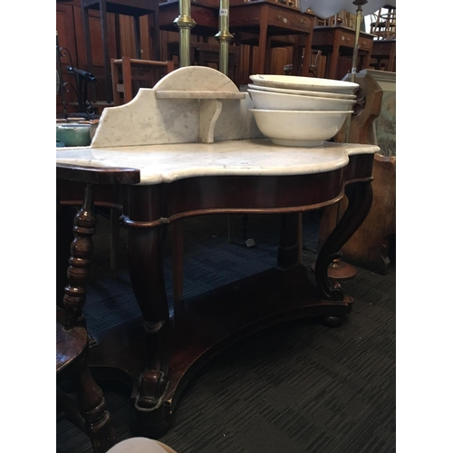 262 - Victorian mahogany marble top wash stand....