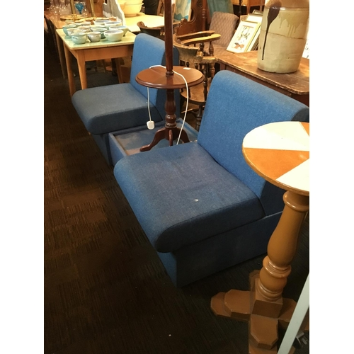 271 - Pair of blue easy chairs and coffee table....