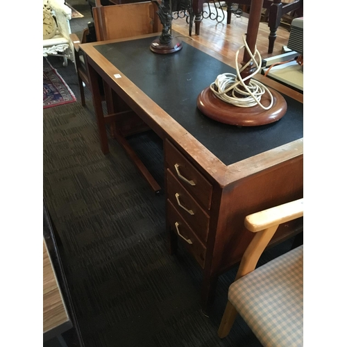 277 - Mahogany office desk with corner extension....
