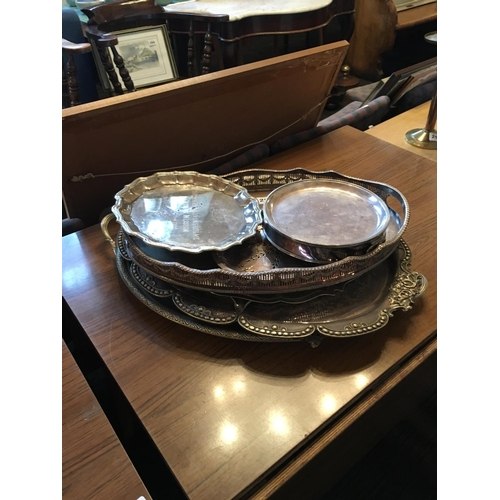 295 - Victorian silver plated gallery trays etc....