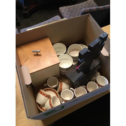 299 - Box of crockery etc and bog oak piece....