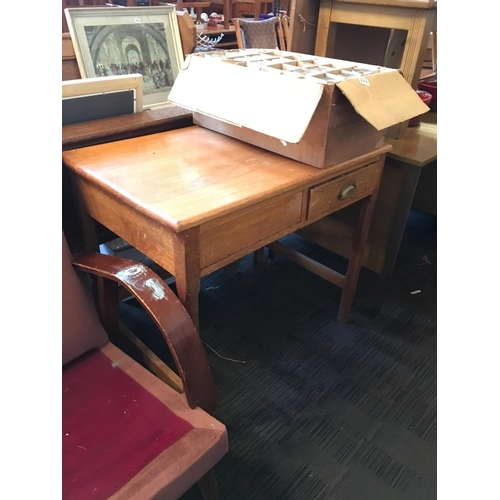 304 - 19th. C. oak two drawer desk....