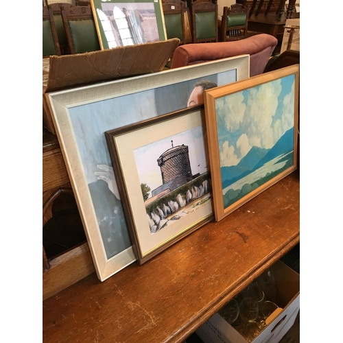 308 - Three paintings including Martello Tower painting by F.Field....