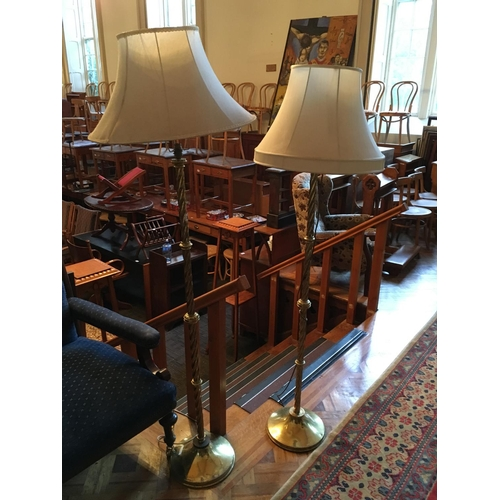 329 - Pair brass standard lamp and shade with option on another....