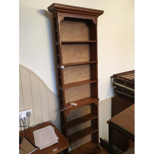 334 - Tall slim line Victorian oak bookcase....