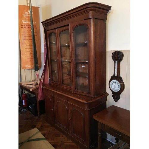 339 - Victorian mahogany three door bookcase....