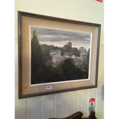 347 - Oil on board by John O Brien signed Village landscape scene....