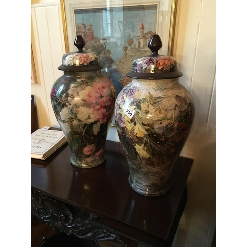 350 - Large pair hand painted French Urns....