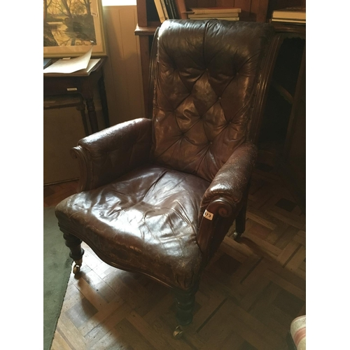 373 - Victorian leather gents armchair....