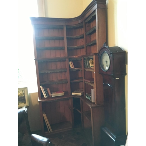 379 - 19th. C. tall mahogany waterfall corner bookcase....