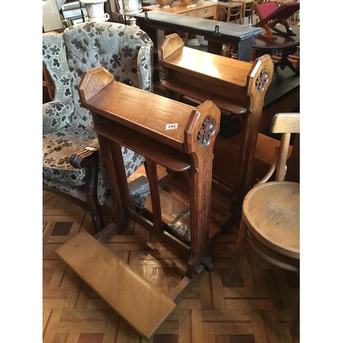 392 - Two Victorian oak kneelers....