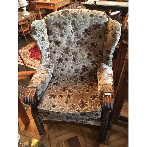 393 - Wing back armchair...