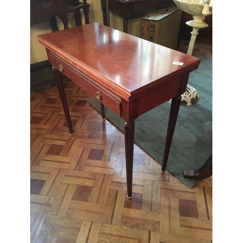 394 - Mahogany turn over leaf card table....