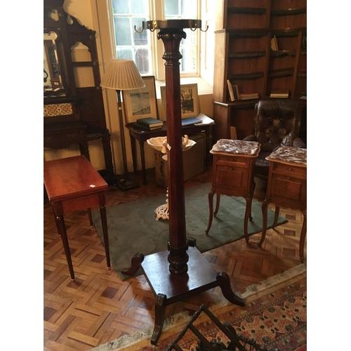 395 - WIV mahogany pedestal coat stand....