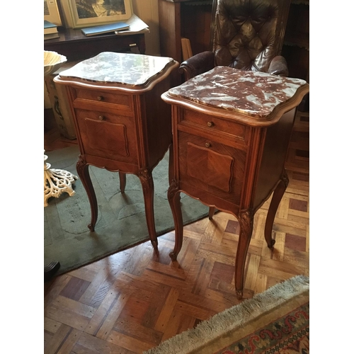 397 - Pair French cabriole marble top bedside cabinets....