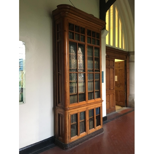 400 - 19th. C. 10ft high Exceptional quality pitch pine four door glazed bookcases. ( This lot is situated...