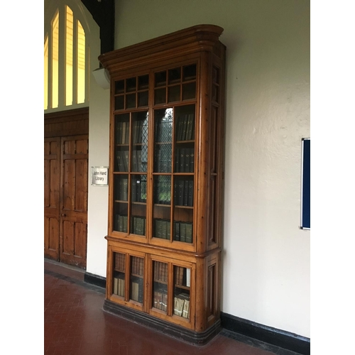 401 - 19th. C. 10ft high Exceptional quality pitch pine four door glazed bookcases. ( This lot is situated...