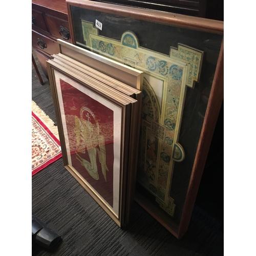 411 - Book of Kells Large prints framed. (6)...