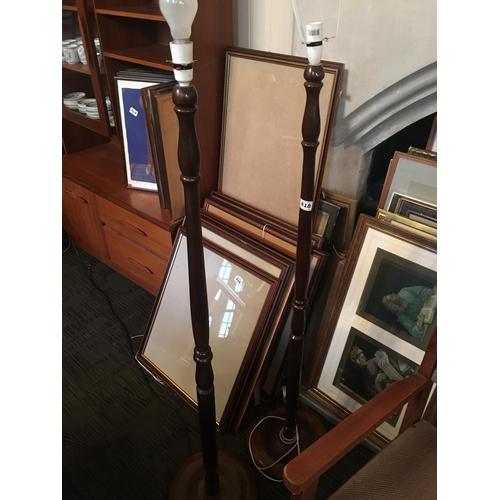 418 - Pair mahogany standard lamps...