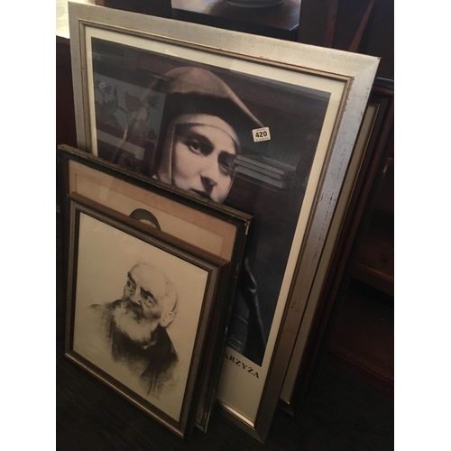 420 - Lot of religious prints including Edith Stein....