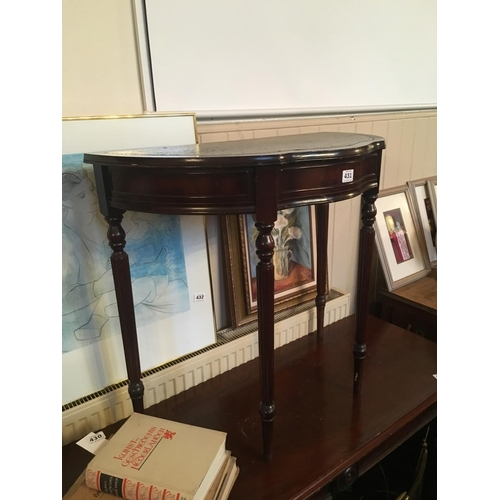 431 - Leather top hall table....