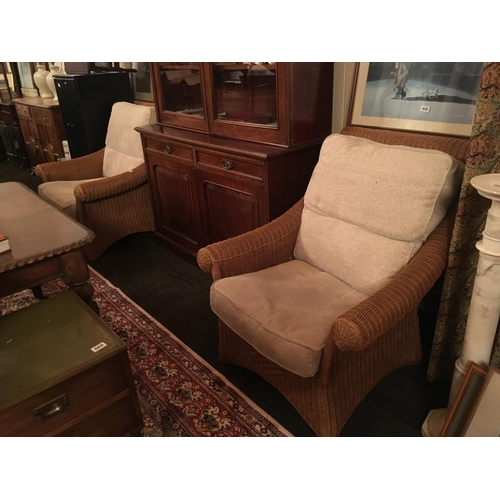 442 - Pair of wicker conservatory armchairs....