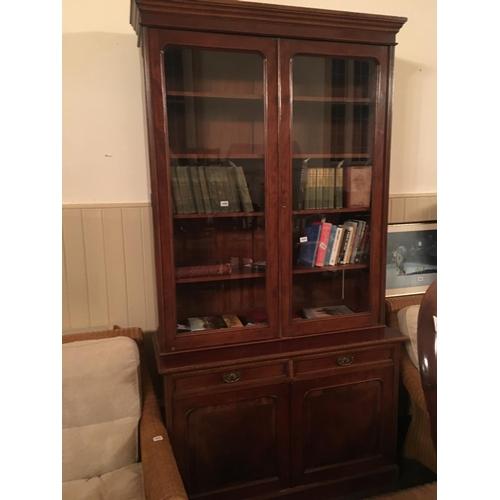 454 - Victorian Mahogany double glazed doors bookcase....