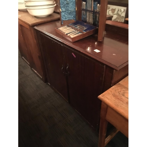 476 - Mahogany shelved interior side cabinet....