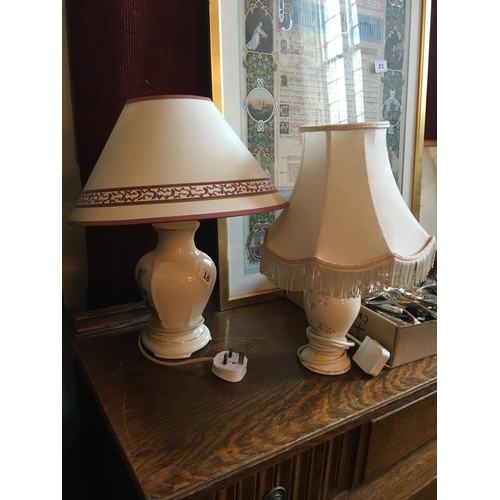 18 - Two table lamps with shades....