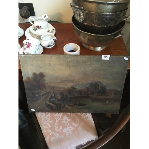 30 - Victorian oil on canvas bridge sceen paintings....