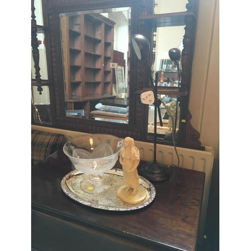 39 - Desk lamp, lady figure, tray and glass bowl....