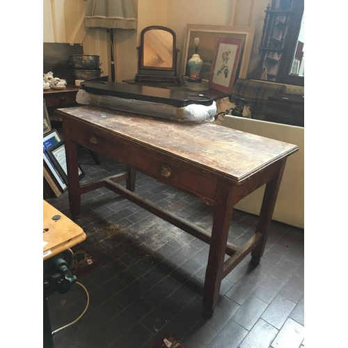 46 - Pitch pine desk table with drawers....