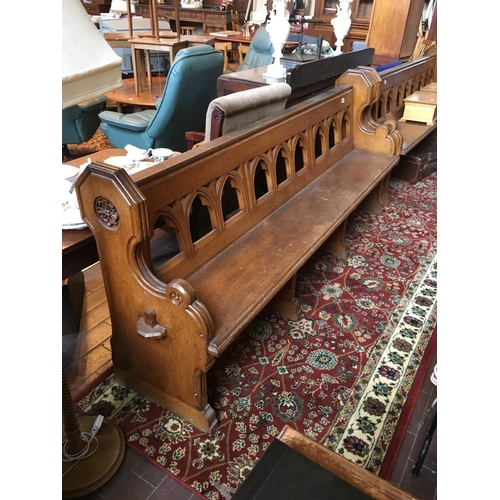 50 - Victorian pitch pine church pew. 7' long....