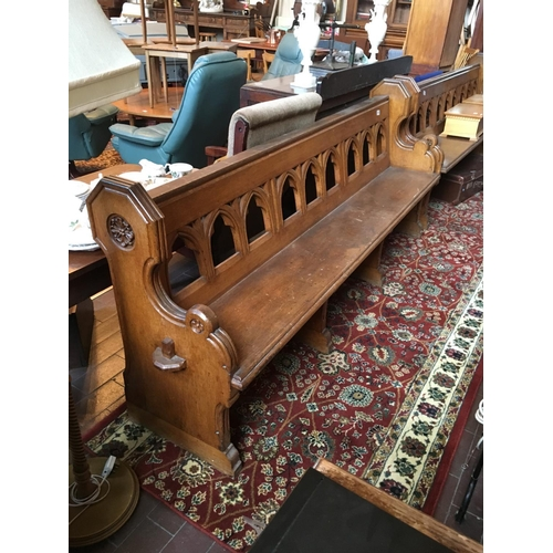 51 - Victorian pitch pine church pew. 7' long....
