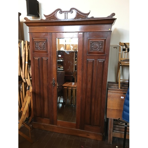 59 - Arts and crafts mahogany mirror door wardrobe....