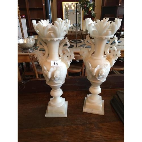 64 - Pair of carved alabastor vases....