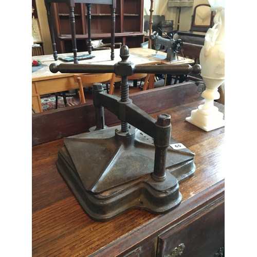 65 - Victorian metal book press....