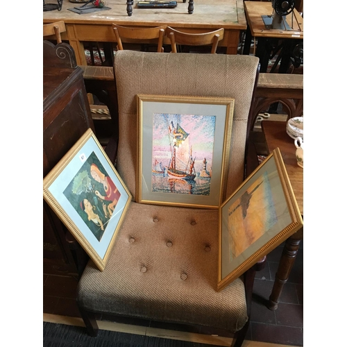 67 - Three gilt framed pictures....