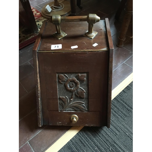 71 - Victorian brass handled coal box....