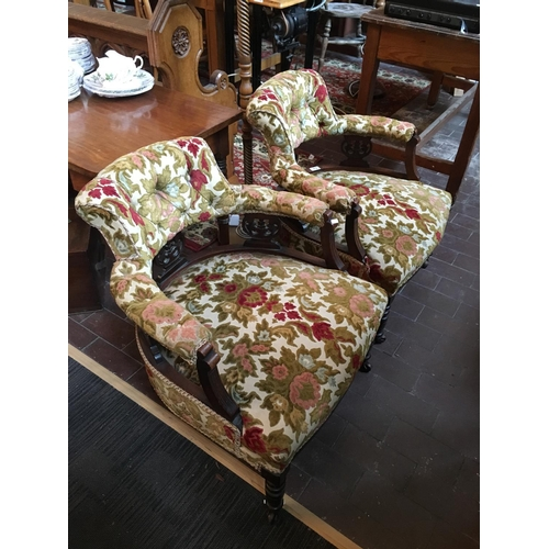 73 - Pair Victorian tub armchairs with floral upholstery....