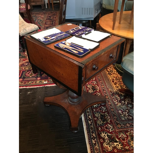 85 - 19th. C drop leaf ladies work table....