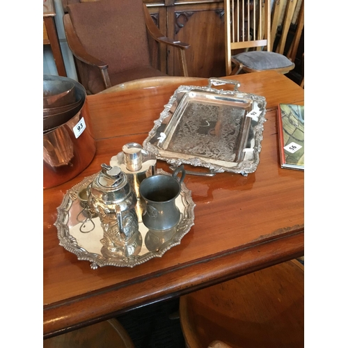 92 - Two silver plated trays and others....