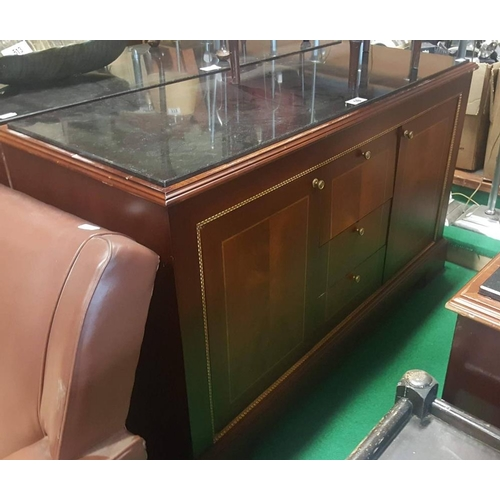10 - Ex Shelbourne mahogany writing table with glassed top and gilded leather inset 61ins W x 35ins H x 2...