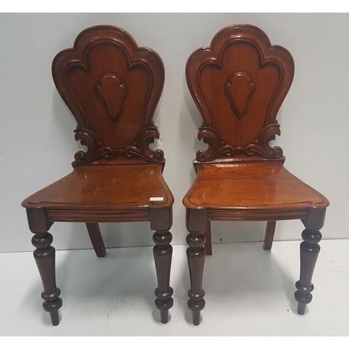 19 - Pair of Victorian Mahogany Hall Chairs....