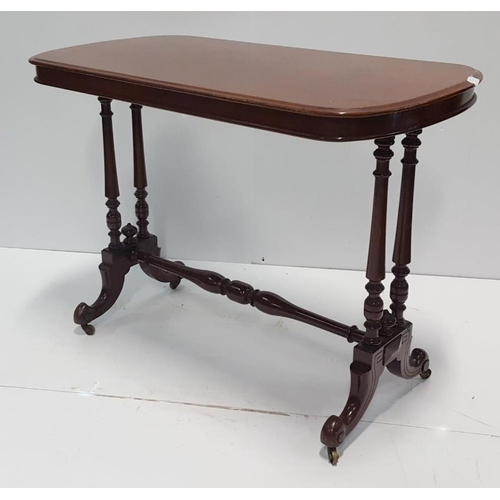 21 - Victorian Mahogany Centre Table, with twin tapering supports either side united by conforming stretc...